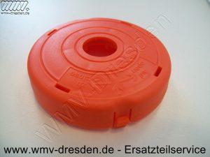 Deckel Rot, Aussendurchmesser 83 mm, Innenloch 18 mm, eine kleine Befestigungslasche