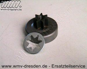 STERNKETTENRAD 3/8 Zoll, 7 Zähne, Zahnkranz ca. 36 mm, Trommel innen 76 mm, aussen 80 mm, Bohrung 16 mm, Höhe 42 mm